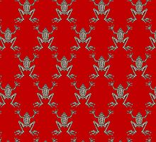 Fabulous Frogs - Bold Red by lottibrown