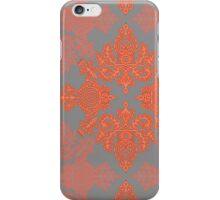 Burnt Orange, Coral & Grey doodle pattern iPhone Case/Skin