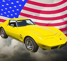 1975 Corvette Stingray Sports Car And American Flag by KWJphotoart