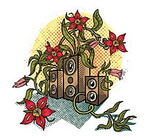 Summer illustration with music speakers and flowers.  Photographic Print