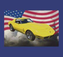 1975 Corvette Stingray Sports Car And American Flag T-Shirt
