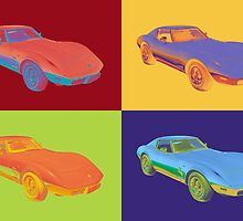 1975 Chevy Corvette Stingray Sports Car Pop Art. by KWJphotoart