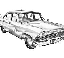 1958 Plymouth Savoy Classic Car Illustration by KWJphotoart
