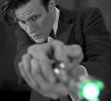 Eleventh Doctor and His Sonic 2 Black and White by Themaninthefez