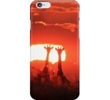 Giraffe - Sunset Love of Red - African Wildlife Background iPhone Case/Skin