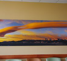 Sunrise On Lenticular Clouds (A 108 x 36 canvas print museum wrapped) by Gary Benson