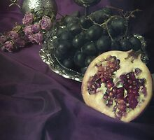Still life with fruits and silver tools by JBlaminsky
