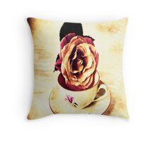 Vintage Rose & Cup Throw Pillows, Tote Bag Throw Pillow