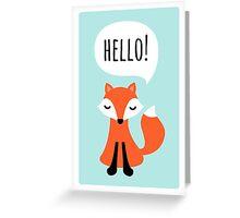 Cute cartoon fox on blue background saying hello Greeting Card