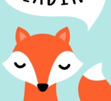 I love reading, cute cartoon fox on blue background Sticker