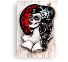 Blue - Day of the dead pinup tattoo Canvas Print