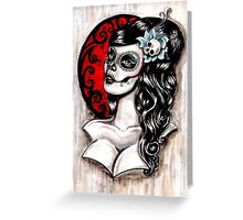 Blue - Day of the dead pinup tattoo Greeting Card