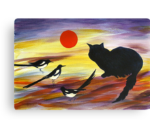 The Magpies tell Meow of Red Canvas Print