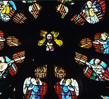 Christ in centre of Rose Window Cathedral Sens France 198405050100  by Fred Mitchell