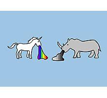 Unicorns Vomit Rainbows, Rhinos Vomit Greyscale Photographic Print