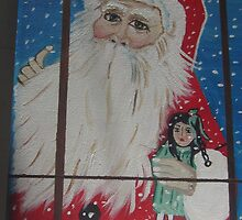SANTA LOOKING THROUGH THE WINDOW by norashepley1234