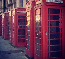 English Red Telephone Boxes by Lucy Wright