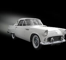 White Thunderbird Classic car on black by Irisangel