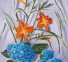 Daylilies, Hydrangeas, and Reed by Randy  Burns