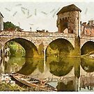 A digital painting of  The Bridge over the Monnow, Monmouth, Wales by Dennis Melling