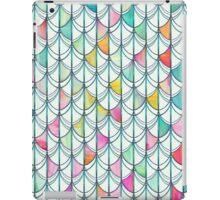 Pencil & Paint Fish Scale Cutout Pattern - white, teal, yellow & pink iPad Case/Skin