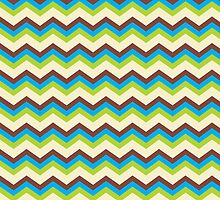 Brown, Blue, Green chevron pattern zig zag by o2creativeNY