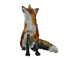 The Fox Woodland Wild Animal Contemporary Acrylic Painting White Edit by JamesPeart