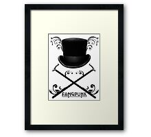 Top Hat and Canes T Shirt Black Framed Print