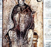 Statue on wall Cathedral Sens France 198405050119  by Fred Mitchell
