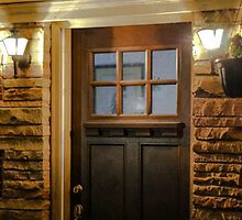 ILLUMINATED FRONT  DOOR WITH STONE WORK by pjm286