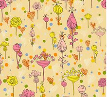 Floral pattern with hearts by lisenok