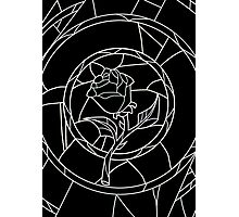 Stained Glass Rose Black Photographic Print