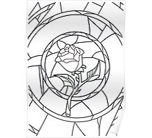 Stained Glass Rose White Poster