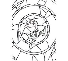 Stained Glass Rose White Photographic Print