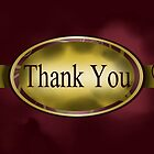 Maroon & Gold Floral Button Thank You Card by treasured-gift