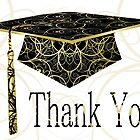 Black & Gold Floral Cap Thank You Card  by treasured-gift