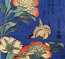'Flowers' by Katsushika Hokusai (Reproduction) by Roz Barron Abellera
