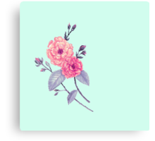 Rose, Soft Peach on Mint Canvas Print