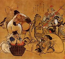 'Seven Gods of Fortune' by Katsushika Hokusai (Reproduction) by Roz Abellera Art Gallery