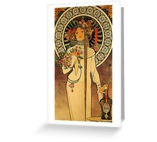 'La Trappistine' by Alphonse Mucha (Reproduction) Greeting Card