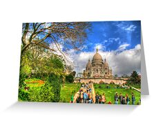 Sacre Couer with greenery .. HDR Greeting Card
