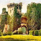 A digital painting of  Raglan Castle, Monmouthshire, Wales 19th century by Dennis Melling