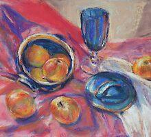 Blue bowl & apples by Terri Maddock