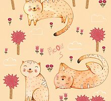 Orange Cat Pattern by Judith Loske