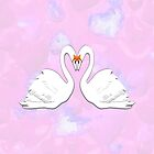Swans in Love - pillow & tote design by Dennis Melling