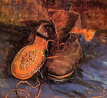 'A Pair of Shoes' by Vincent Van Gogh (Reproduction) by Roz Abellera Art