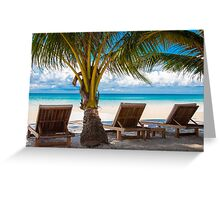 Sunbeds on exotic tropical palm beach Greeting Card