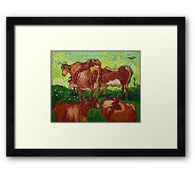 'Les Vaches' by Vincent Van Gogh (Reproduction) Framed Print
