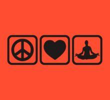 Peace love heart Yoga by Designzz
