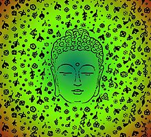 Buddha Head Green Gradient by roseglasses